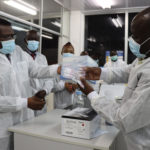 Healthcare workers in laboratory