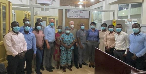 ANTICOV trial site team in Ghana meeting with representatives from the Bernhard Nocht Institute
